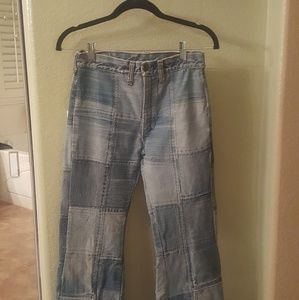 Unique vintage patchwork bell bottom jeans